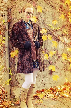animal print coat worn with another print
