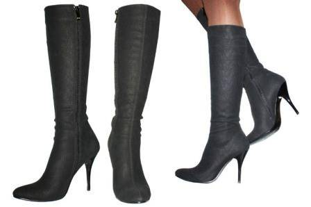 knee-high, high-heeled boots