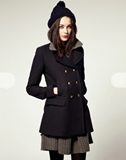 Womens Military Style Pea Coat - JacketIn