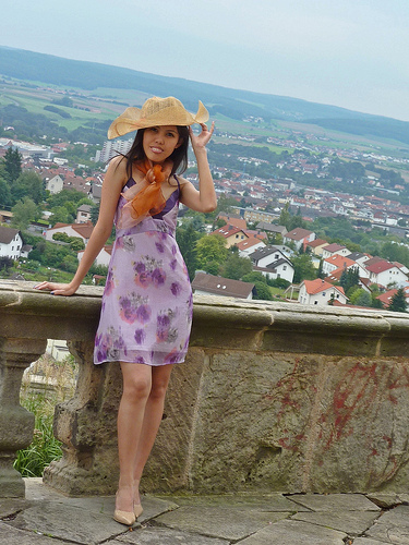 summer dress with hat