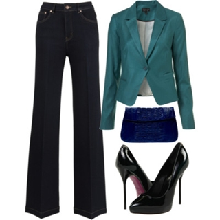high-waisted flare jeans jeans with blazer