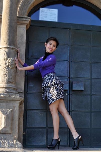 purple cardigan with printed peplum skirt