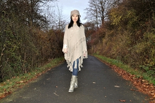 Poncho, Hat, Jeans and Boots