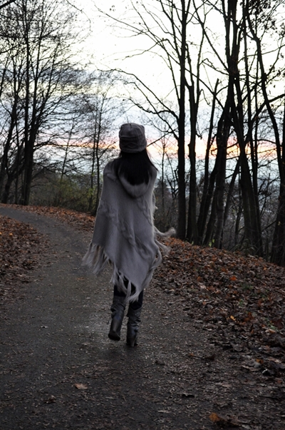 Woman in Long Poncho