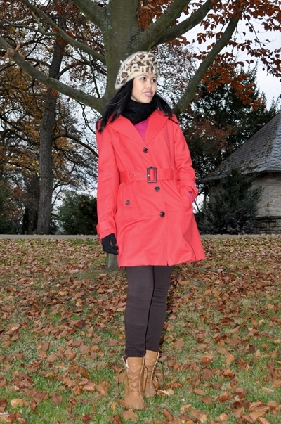 red trench coat with leopard print hat