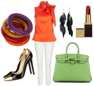 tricolor combo outfit with light green grab bag