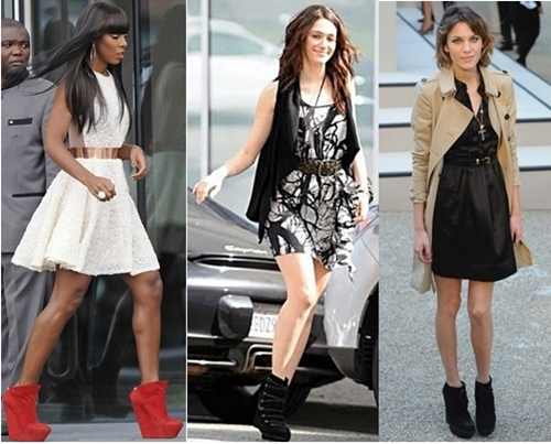 Celebrities Wear Wedge Boots with Dress
