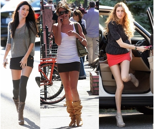Celebrities wear wedge boots with shorts and mini skirts