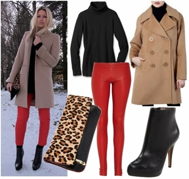 Wear red leather pants look1