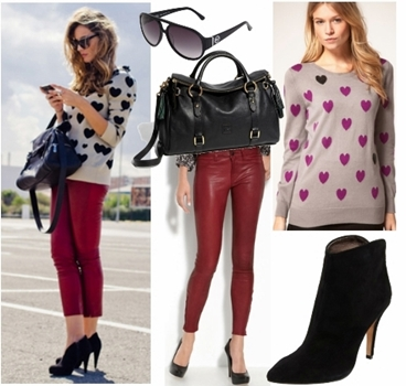 Wear red leather pants look2