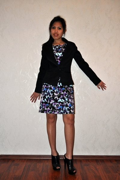 blazer over printed dress