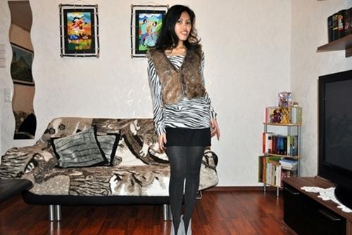 zebra print top with fur vest