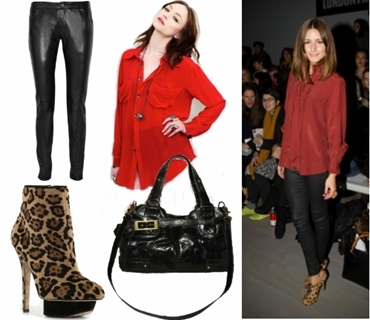 Olivia Palermo Wears Leopard Print Booties with Black Leather pants