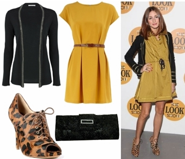 Olivia Palermo Wears Leopard Print Booties with Mustard Dress