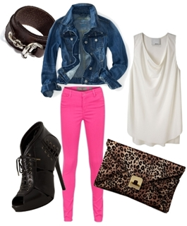 Wear Pink Colored Jeans with Denim Jacket