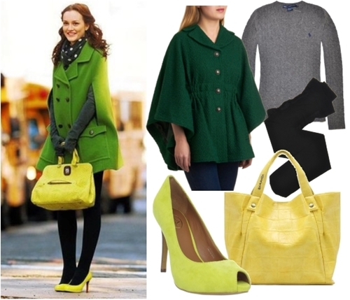 Gossip Girl Blair Celebrity Green Women Cape Coat