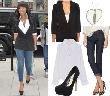 Jennifer Hudson Casual Look Black Blazer with Jeans
