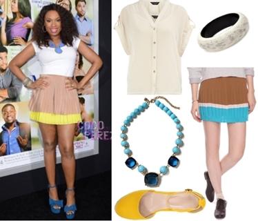 Jennifer Hudson Casual Look Colorblock Skirt