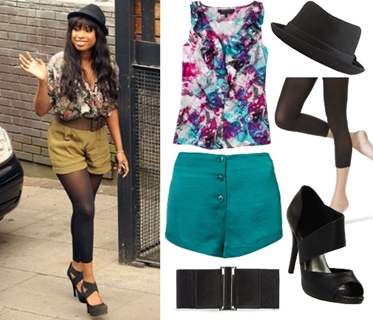 Jennifer Hudson Casual Outfit Printed Blouse and Shorts