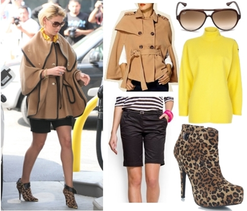 Katherine Heigl women cape coat and shorts