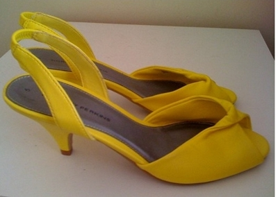 Styling bright yellow sandals