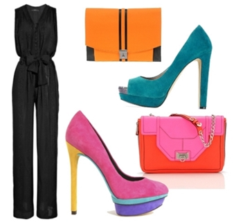 How to Colorblock a Black Jumpsuit