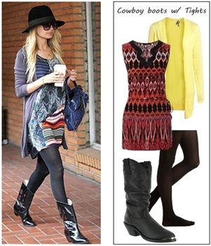 How to wear cowboy boots with tights