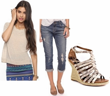 Wear Wedge Sandals with Boyfriend Jeans