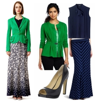 Women Work Outfit for Spring - Maxi Skirt