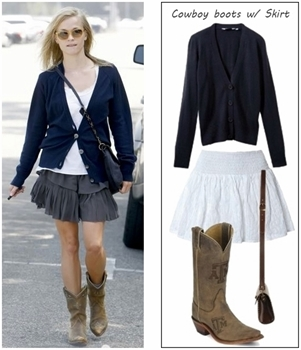 how to wear cowboy boots with skirt