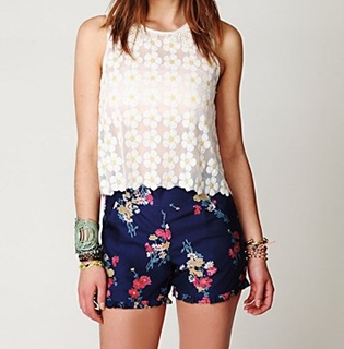 printed shorts with lace