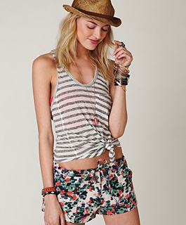 printed shorts with stripes tank