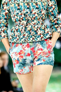 printed shorts worn with printed top