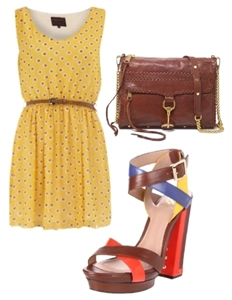 Colorblock shoes with a monochromatic printed dress