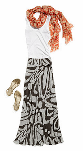 How to Accent a Maxi Skirt with colored scarf