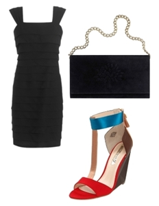 Style a LBD with colorblock shoes