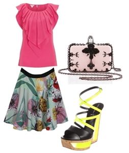 Wear colorblock shoes with bold prints