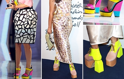 fashionistas wearing color-block shoes