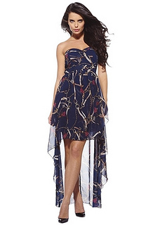 AxParis Chain Printed Strapless Chiffon Dress