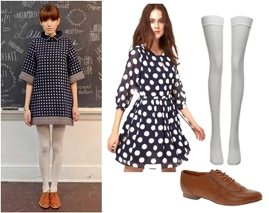 Back to School Looks - Polka Dot Dress with Oxford Shoes