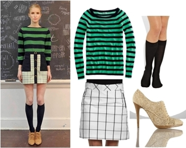 Back to School Looks - Striped Top with Plaid Skirt