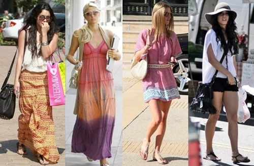 Celebrities casual outfits with flat sandals