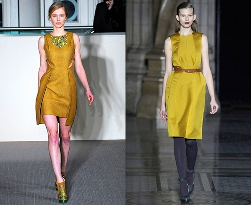 Fall 2012 Trend - mustard yellow dress