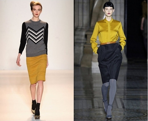 Fall 2012 Trend - mustard yellow paired with dark separate