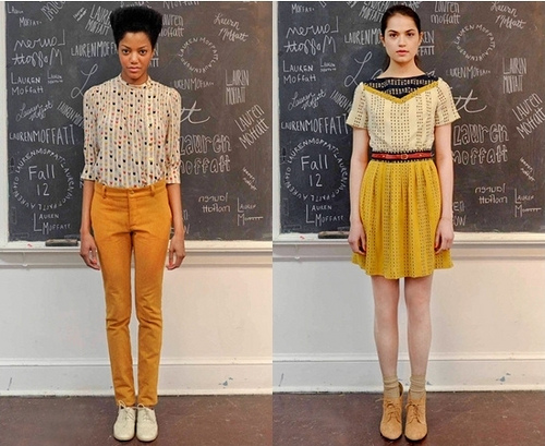 Fall 2012 Trend - mustard yellow paired with soft nude prints