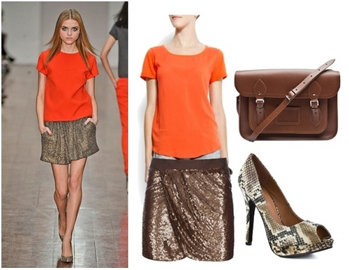 Fall Trend Orange Top and Sequined Skirt
