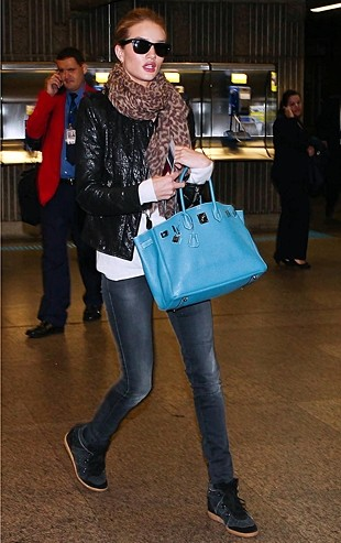 Rose Huntington-Whiteley Wearing Isabel Marant Wedge Sneakers