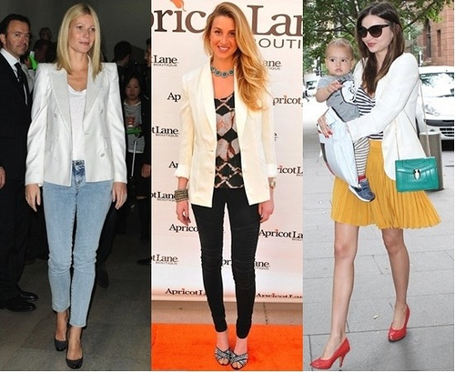 celebrities wearing white blazers for summer