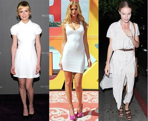 celebrities wearing white summer dress