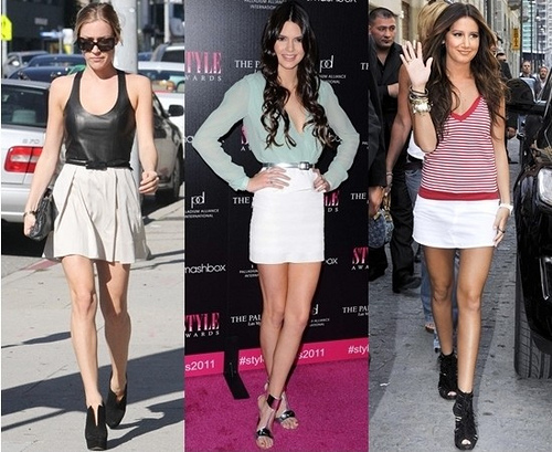 celebrities wearing white summer skirts
